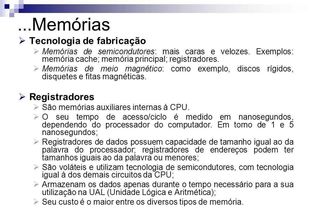 Tecnologia de fabricação Memórias de semicondutores: mais caras e velozes. Exemplos: memória cache; memória principal; registradores. Memórias de meio