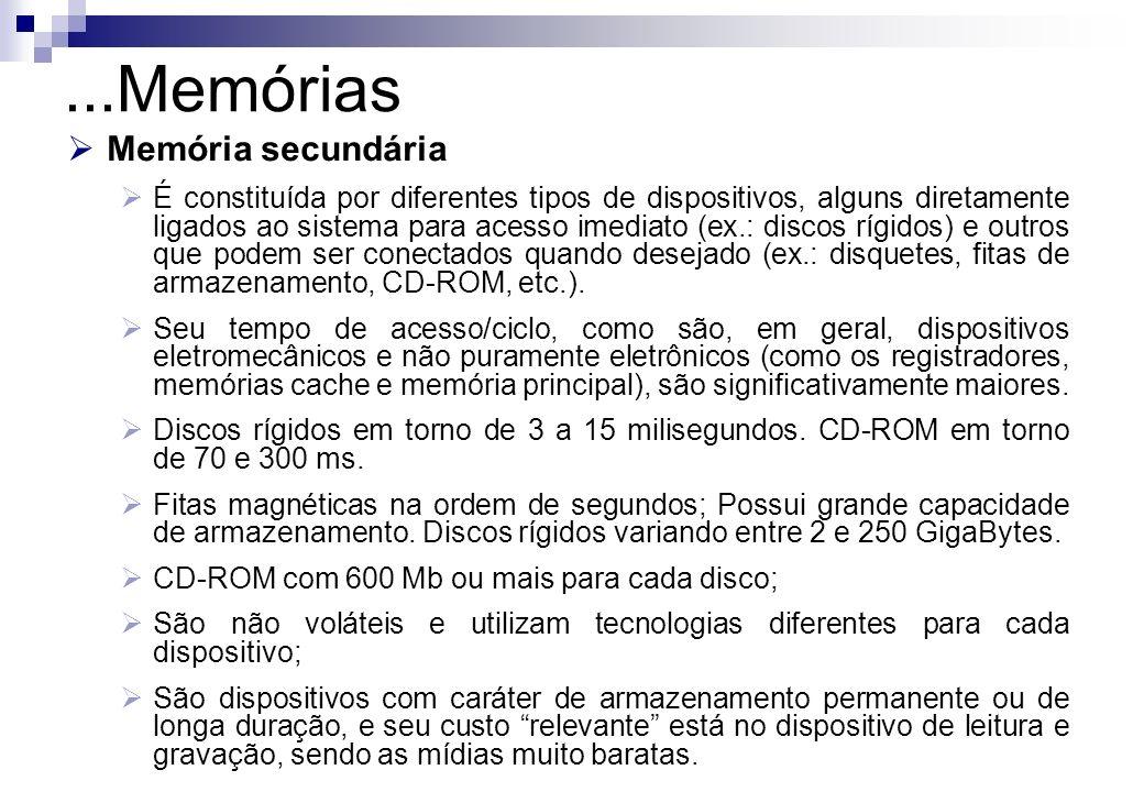 Memória secundária É constituída por diferentes tipos de dispositivos, alguns diretamente ligados ao sistema para acesso imediato (ex.: discos rígidos