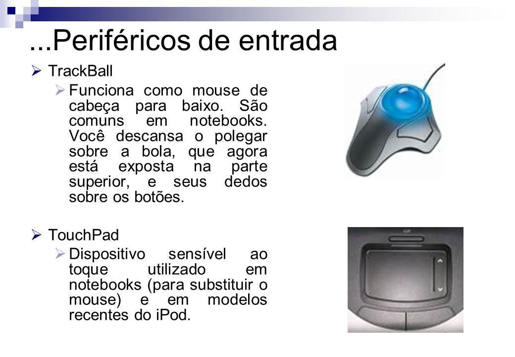 TrackBall Funciona como mouse de cabeça para baixo. São comuns em notebooks. Você descansa o polegar sobre a bola, que agora está exposta na parte sup