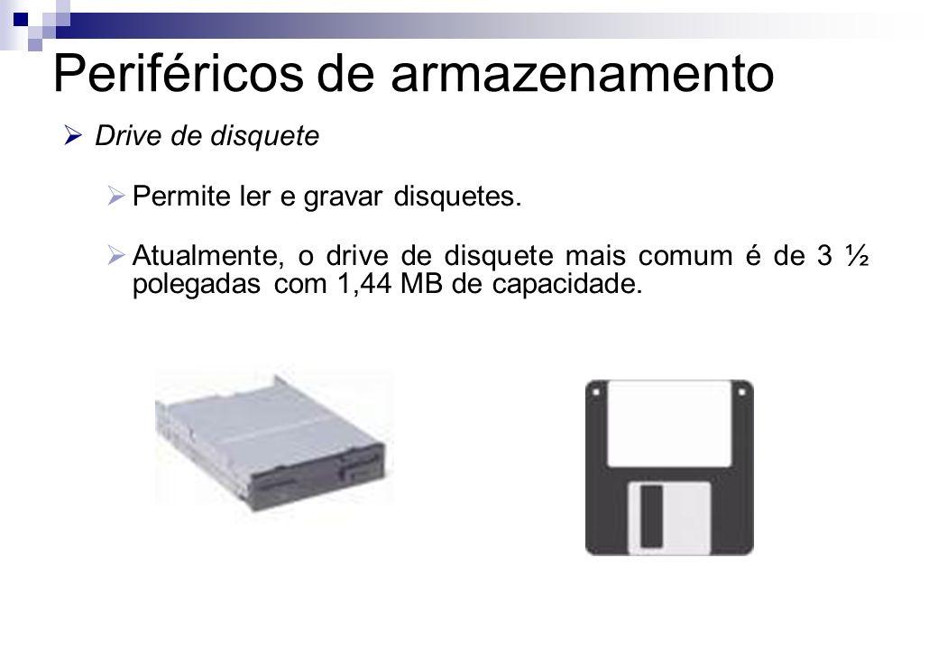 Drive de disquete Permite ler e gravar disquetes. Atualmente, o drive de disquete mais comum é de 3 ½ polegadas com 1,44 MB de capacidade. Periféricos