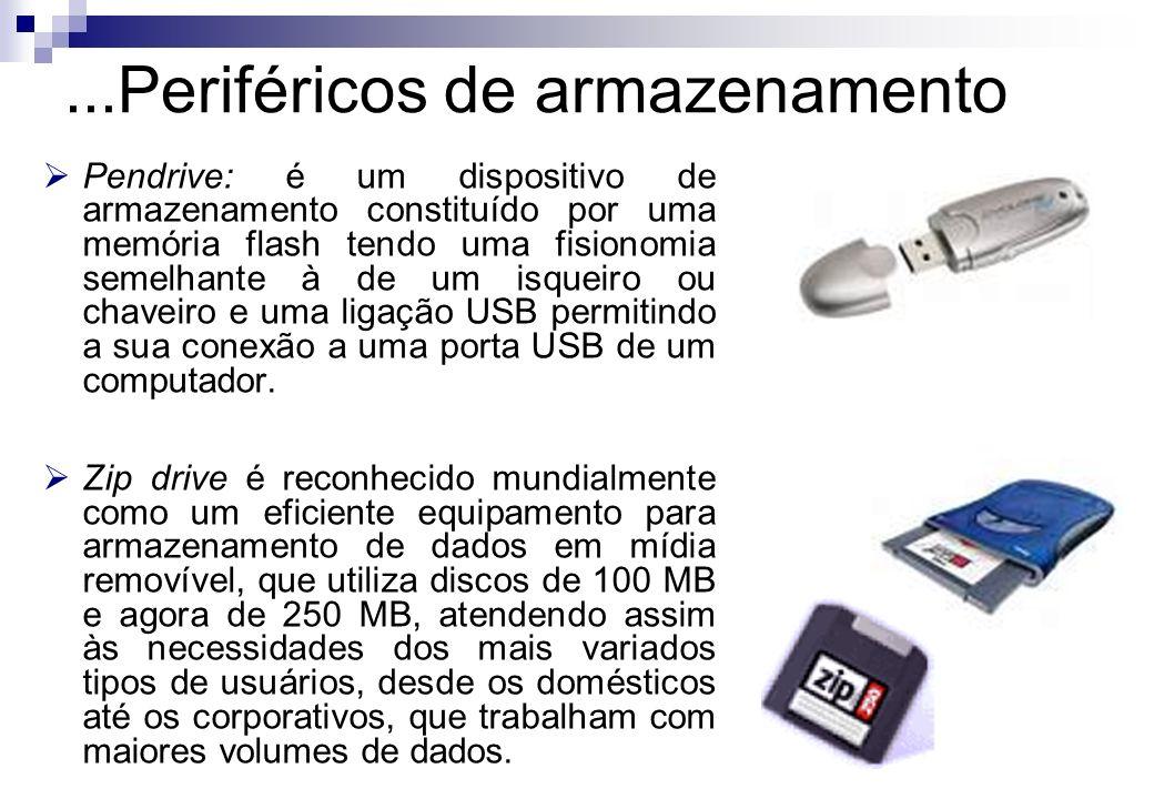 Pendrive: é um dispositivo de armazenamento constituído por uma memória flash tendo uma fisionomia semelhante à de um isqueiro ou chaveiro e uma ligaç