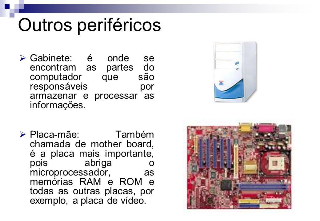 Gabinete: é onde se encontram as partes do computador que são responsáveis por armazenar e processar as informações. Placa-mãe: Também chamada de moth