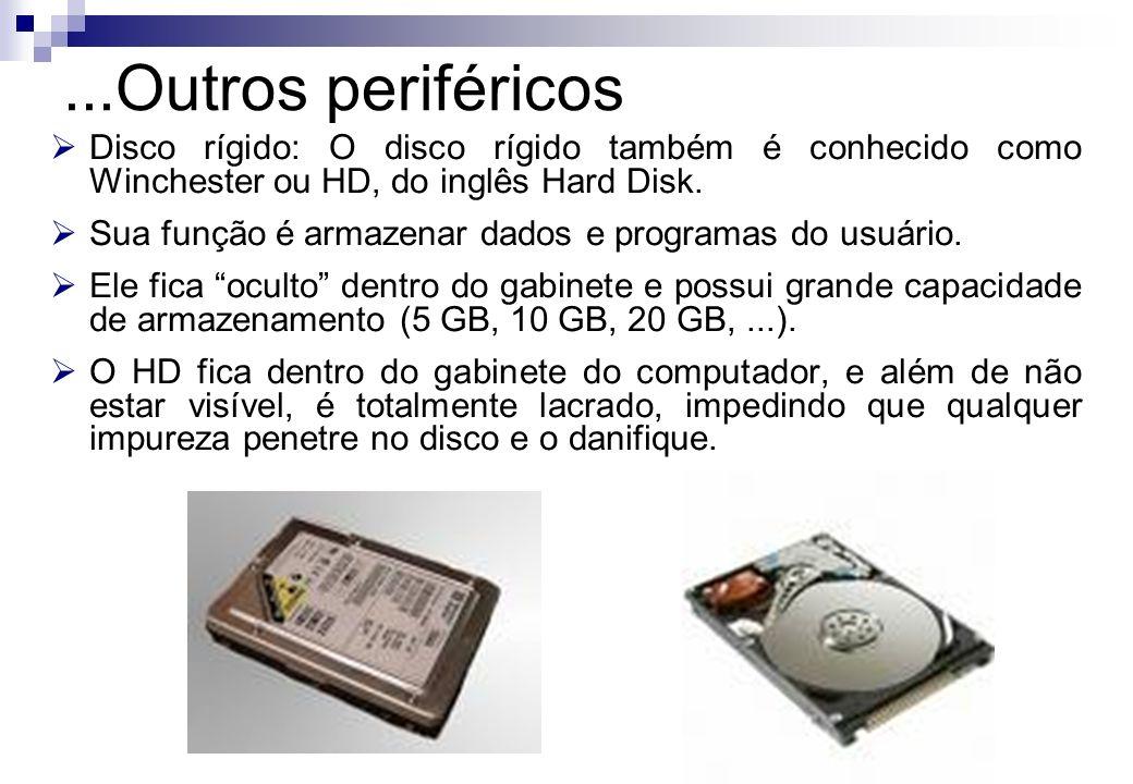 Disco rígido: O disco rígido também é conhecido como Winchester ou HD, do inglês Hard Disk. Sua função é armazenar dados e programas do usuário. Ele f