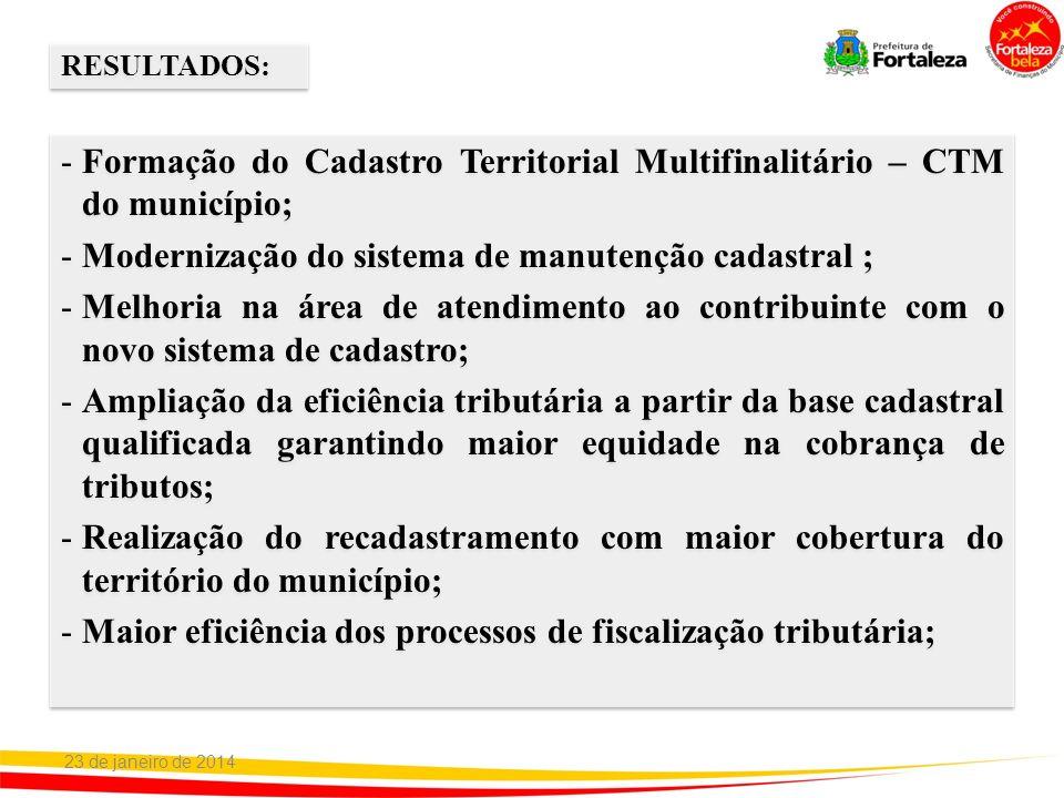 -Formação do Cadastro Territorial Multifinalitário – CTM do município; -Modernização do sistema de manutenção cadastral ; -Melhoria na área de atendim