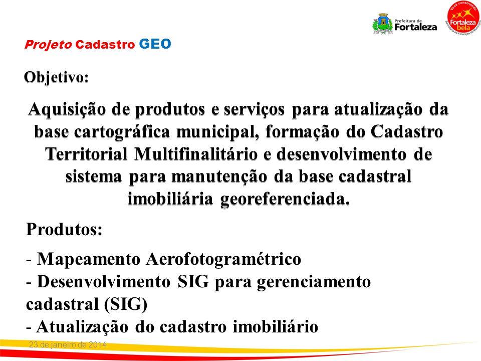 Aquisição de produtos e serviços para atualização da base cartográfica municipal, formação do Cadastro Territorial Multifinalitário e desenvolvimento