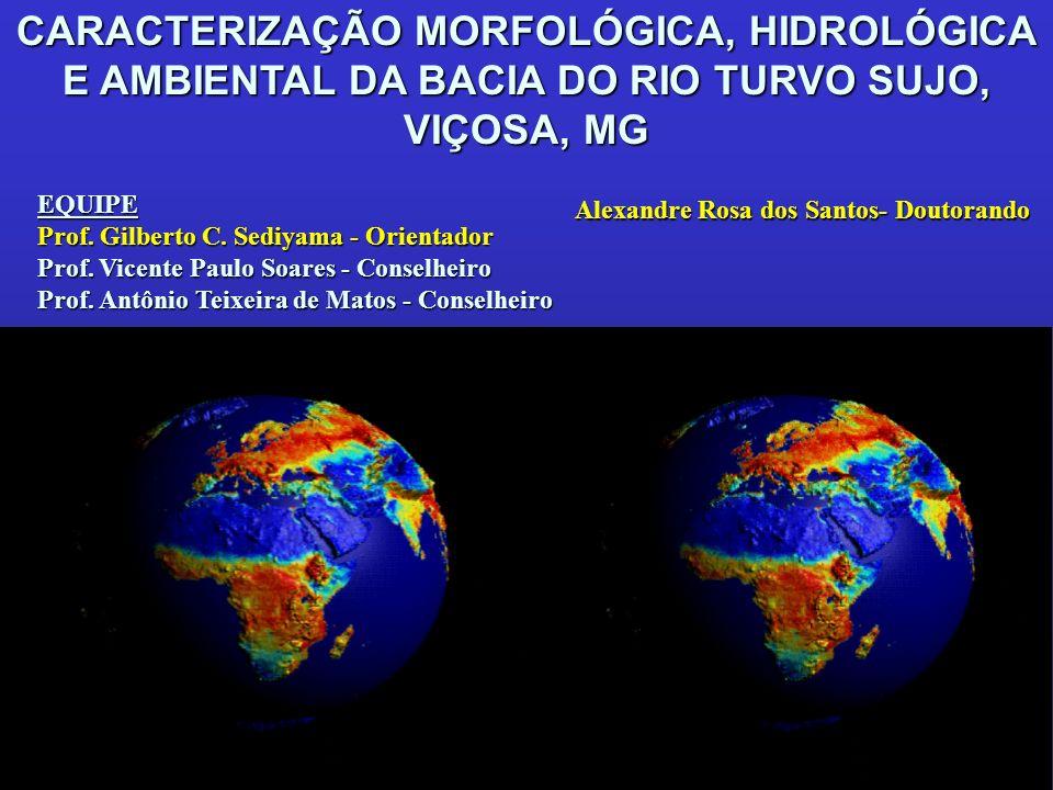 Quantificação das áreas homogêneas por classes de declividade para a bacia hidrográfica Declividade (%) Superfície (km 2 ) % relativa do total da bacia 0 - 3 (plano) 98,62 3 - 8 (ondulado suave) 21,27 8 - 20 (ondulado) 119,57 20 -45 (ondulado forte) 143,72 45- 75 (montanhoso)18,65 > 75 (montanhoso forte) 4,58 24,27 5,23 29,42 35,36 4,59 1,13