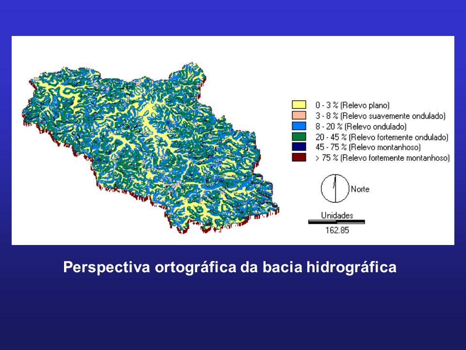 Perspectiva ortográfica da bacia hidrográfica