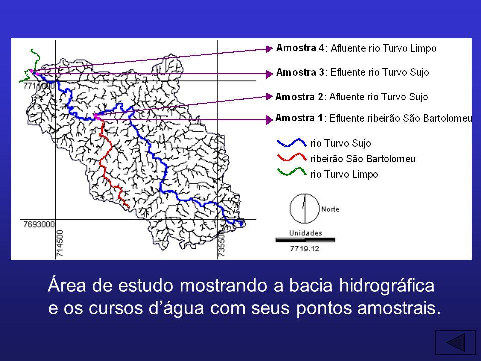 Área de estudo mostrando a bacia hidrográfica e os cursos dágua com seus pontos amostrais. AAA