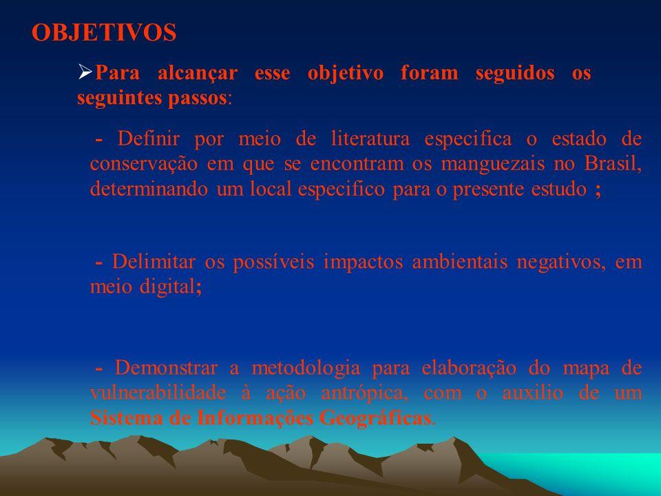 OBJETIVOS - Definir por meio de literatura especifica o estado de conservação em que se encontram os manguezais no Brasil, determinando um local espec