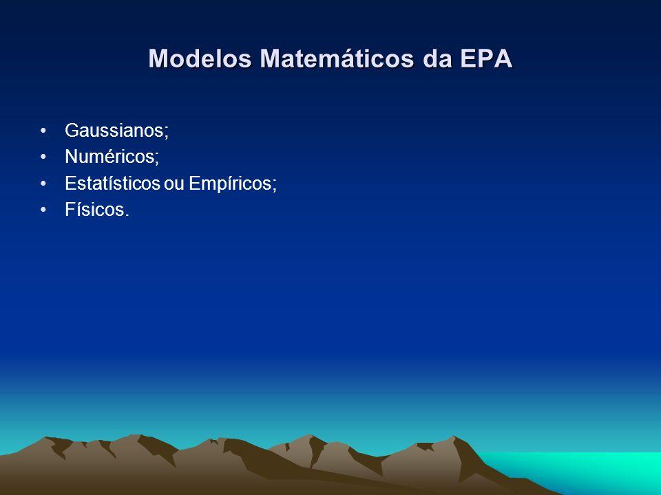 Modelos Matemáticos da EPA Gaussianos; Numéricos; Estatísticos ou Empíricos; Físicos.