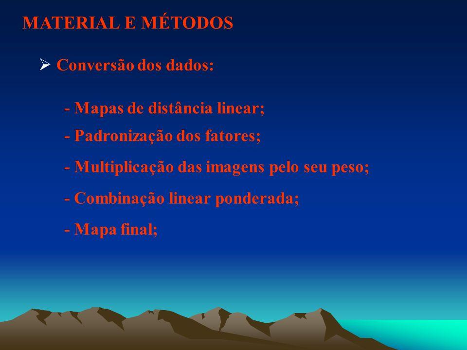 MATERIAL E MÉTODOS Conversão dos dados: - Mapas de distância linear; - Padronização dos fatores; - Multiplicação das imagens pelo seu peso; - Combinaç
