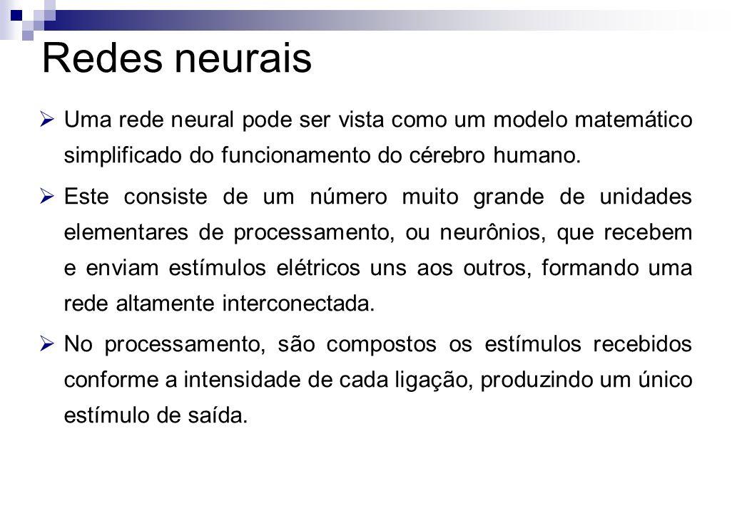 Uma rede neural pode ser vista como um modelo matemático simplificado do funcionamento do cérebro humano. Este consiste de um número muito grande de u