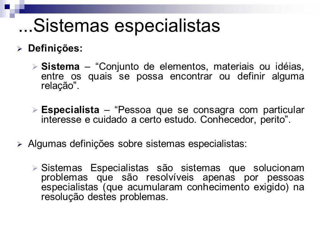 Definições: Sistema – Conjunto de elementos, materiais ou idéias, entre os quais se possa encontrar ou definir alguma relação. Especialista – Pessoa q
