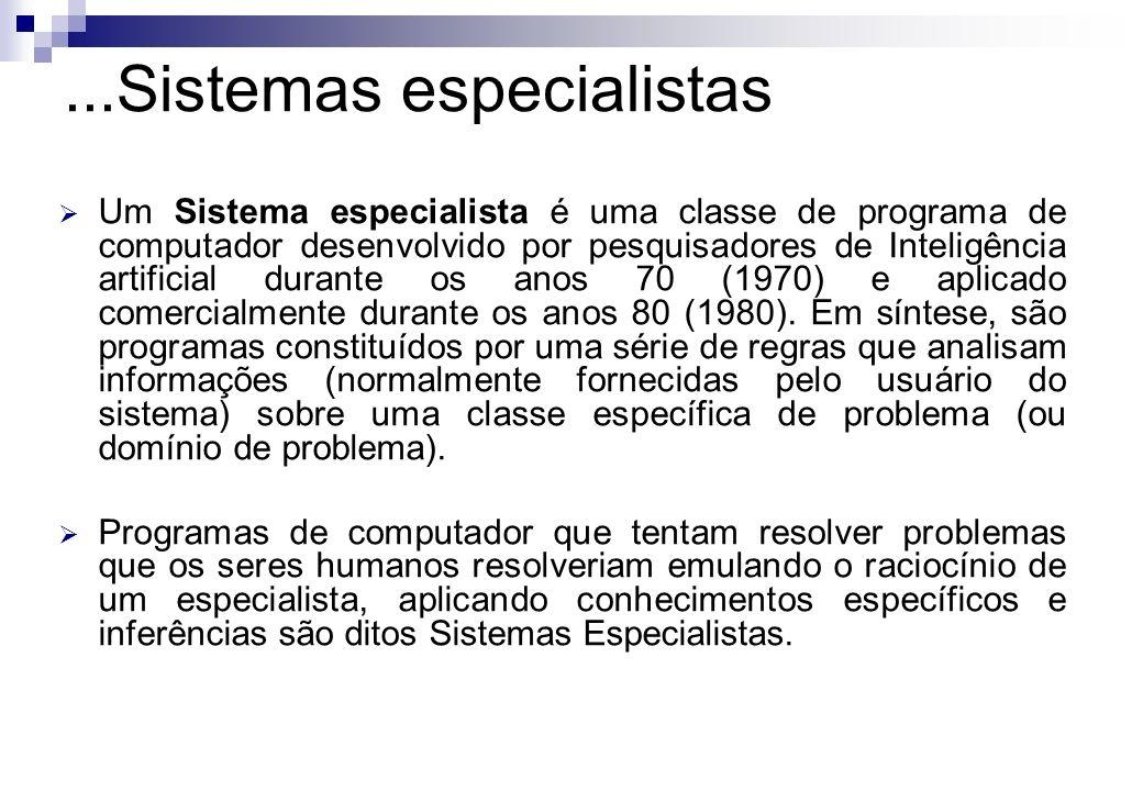 Um Sistema especialista é uma classe de programa de computador desenvolvido por pesquisadores de Inteligência artificial durante os anos 70 (1970) e a