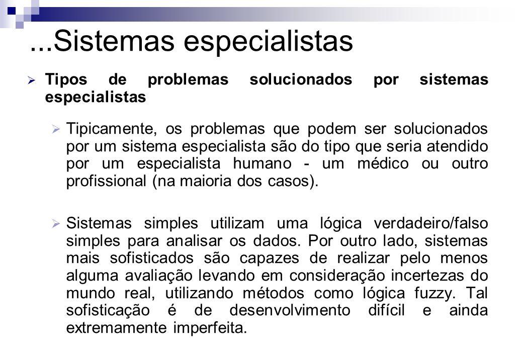 Tipos de problemas solucionados por sistemas especialistas Tipicamente, os problemas que podem ser solucionados por um sistema especialista são do tip