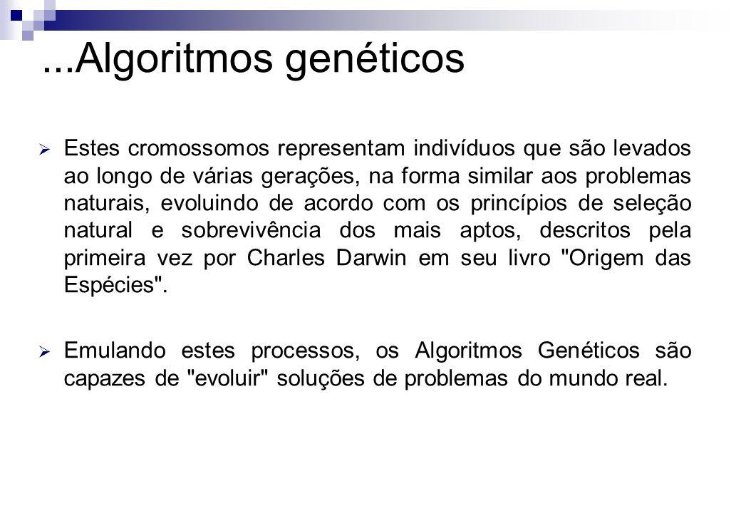 Estes cromossomos representam indivíduos que são levados ao longo de várias gerações, na forma similar aos problemas naturais, evoluindo de acordo com