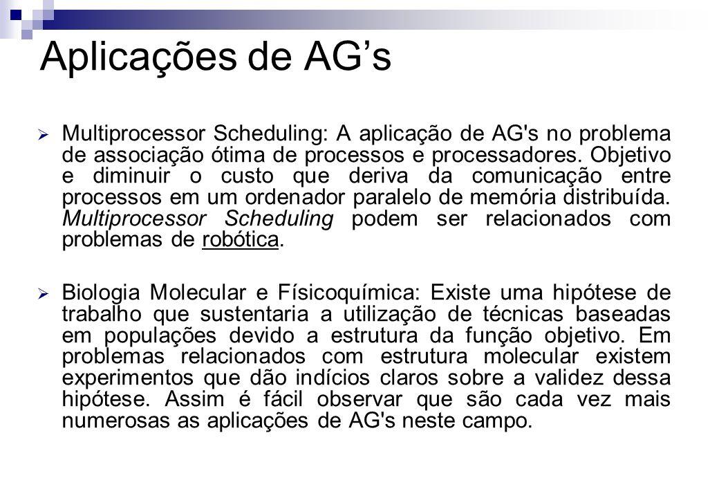 Multiprocessor Scheduling: A aplicação de AG's no problema de associação ótima de processos e processadores. Objetivo e diminuir o custo que deriva da