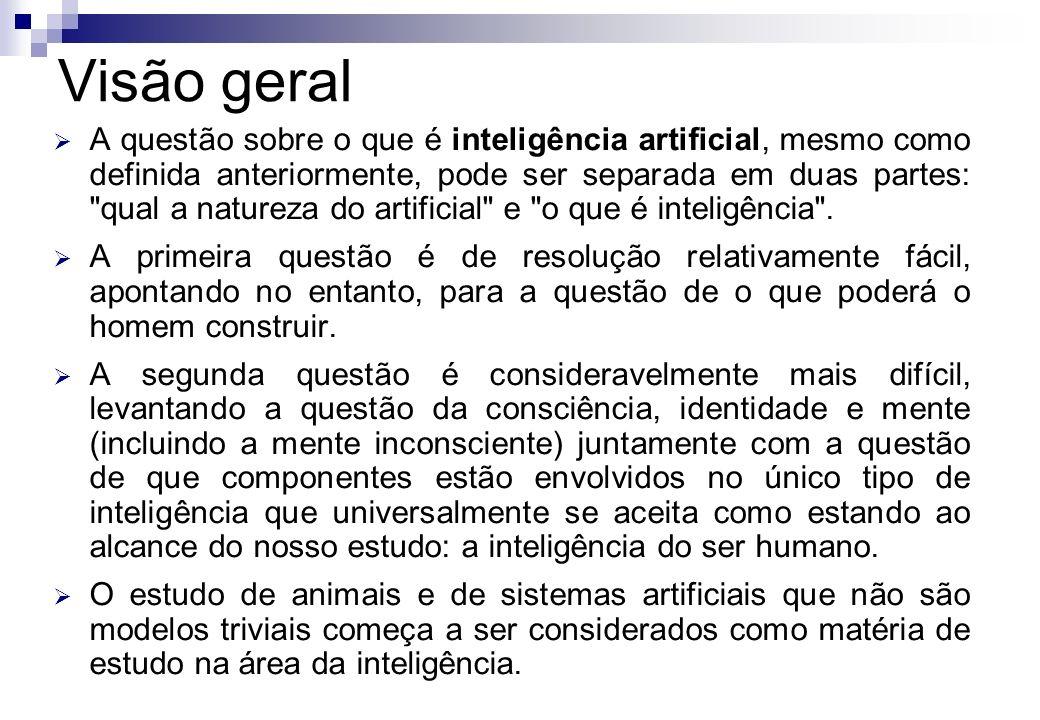 A questão sobre o que é inteligência artificial, mesmo como definida anteriormente, pode ser separada em duas partes: