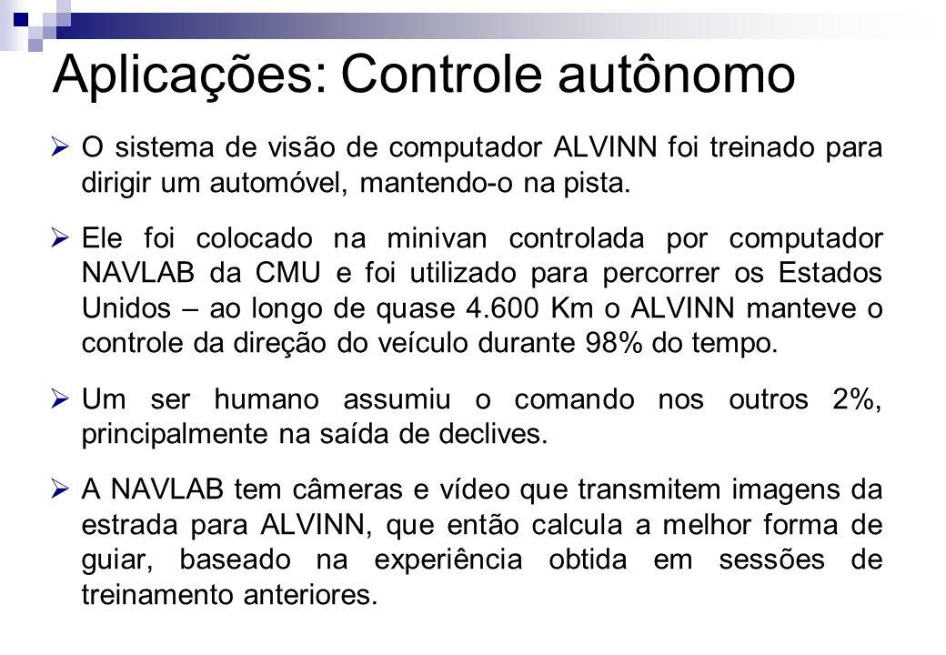 O sistema de visão de computador ALVINN foi treinado para dirigir um automóvel, mantendo-o na pista. Ele foi colocado na minivan controlada por comput