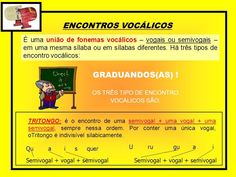 ENCONTROS VOCÁLICOS É uma união de fonemas vocálicos – vogais ou semivogais – em uma mesma sílaba ou em sílabas diferentes. Há três tipos de encontro