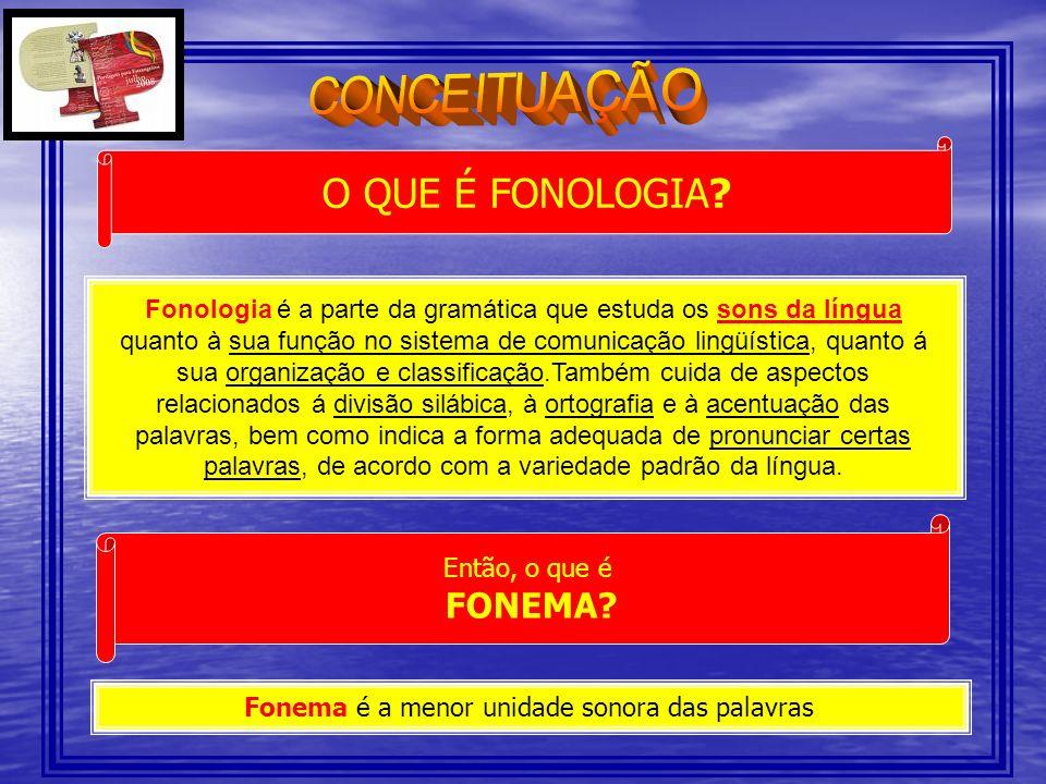 O QUE É FONOLOGIA? Fonologia é a parte da gramática que estuda os sons da língua quanto à sua função no sistema de comunicação lingüística, quanto á s