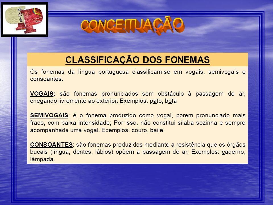 CLASSIFICAÇÃO DOS FONEMAS Os fonemas da língua portuguesa classificam-se em vogais, semivogais e consoantes. VOGAIS: são fonemas pronunciados sem obst