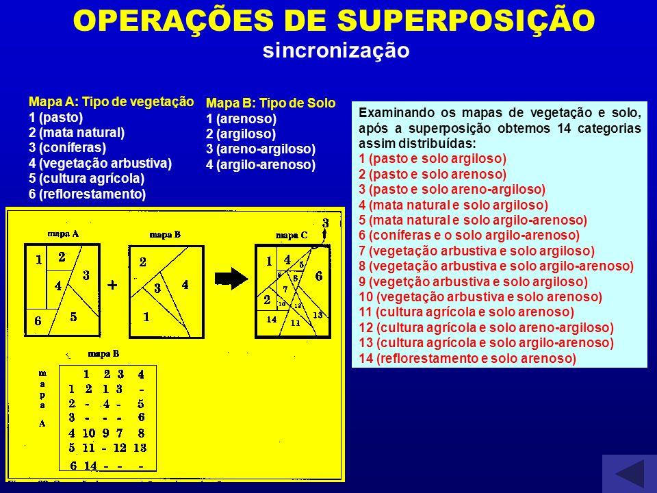OPERAÇÕES DE SUPERPOSIÇÃO sincronização Examinando os mapas de vegetação e solo, após a superposição obtemos 14 categorias assim distribuídas: 1 (past