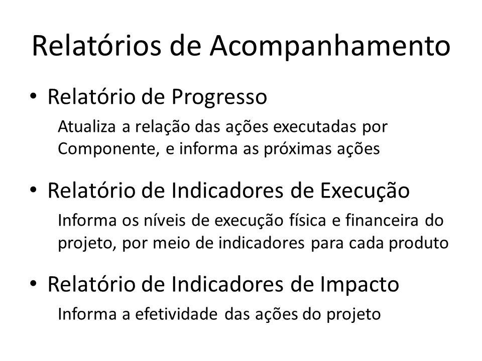 Relatório de Progresso Atualiza a relação das ações executadas por Componente, e informa as próximas ações Relatório de Indicadores de Execução Inform