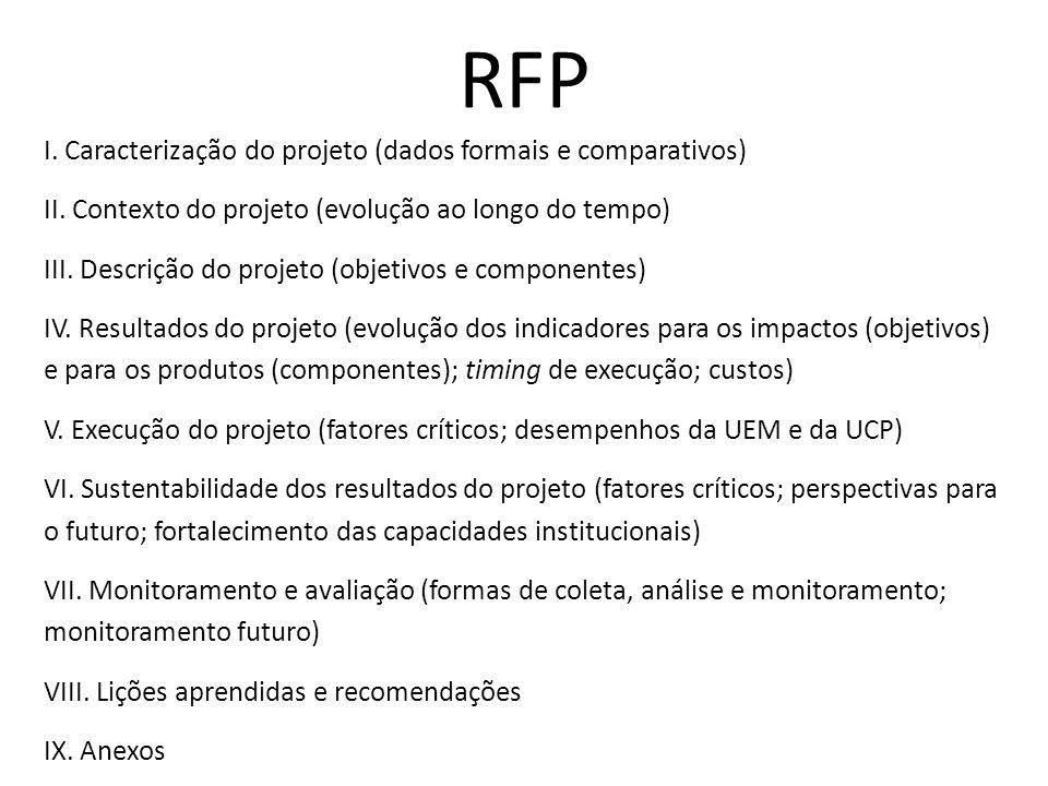 RFP I. Caracterização do projeto (dados formais e comparativos) II. Contexto do projeto (evolução ao longo do tempo) III. Descrição do projeto (objeti