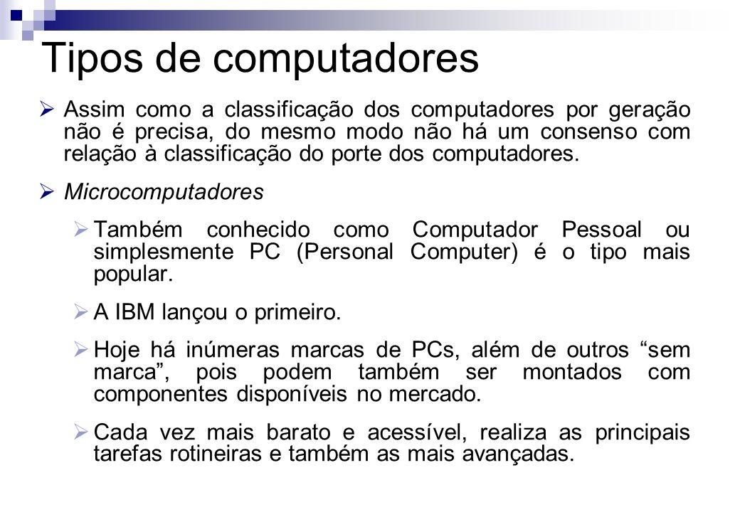 Assim como a classificação dos computadores por geração não é precisa, do mesmo modo não há um consenso com relação à classificação do porte dos compu