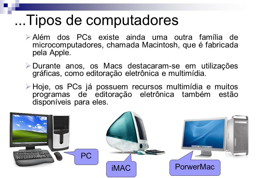 Além dos PCs existe ainda uma outra família de microcomputadores, chamada Macintosh, que é fabricada pela Apple. Durante anos, os Macs destacaram-se e