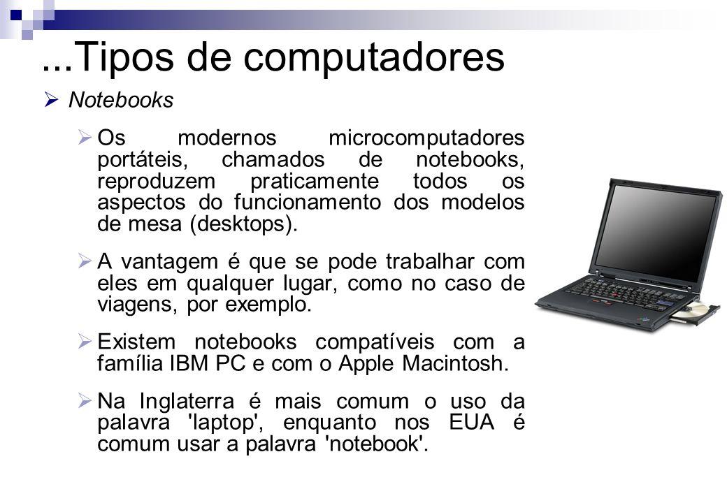Notebooks Os modernos microcomputadores portáteis, chamados de notebooks, reproduzem praticamente todos os aspectos do funcionamento dos modelos de me