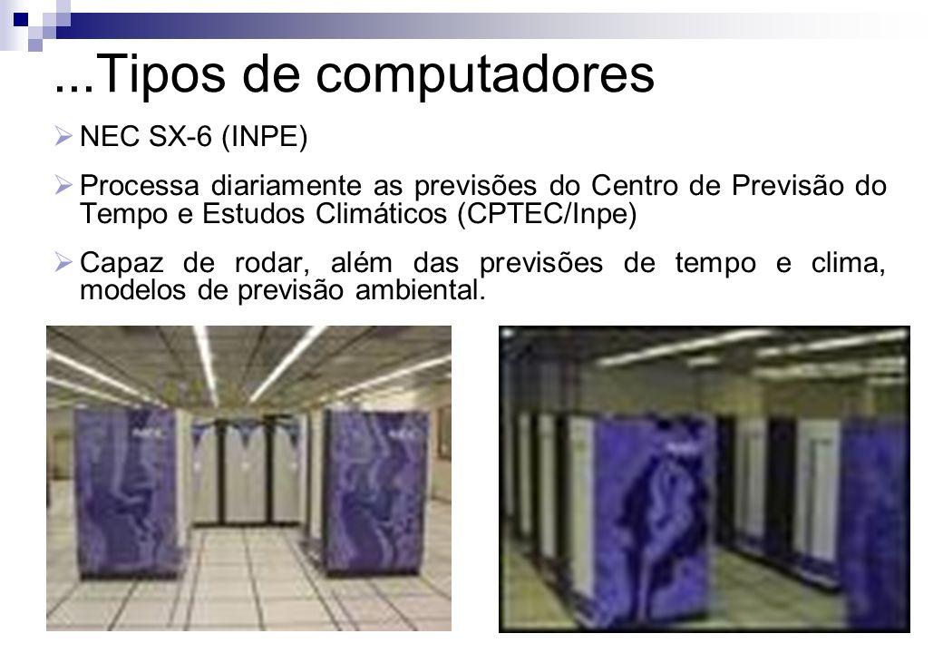 NEC SX-6 (INPE) Processa diariamente as previsões do Centro de Previsão do Tempo e Estudos Climáticos (CPTEC/Inpe) Capaz de rodar, além das previsões