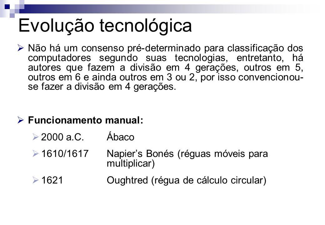Funcionamento mecânico: 1642/1647Pascal (calculadora mecânica - adição e subtração) 1671/1673Leibniz (calculadora mecânica: adição, subtração, multiplicação e divisão) 1750Início da Revolução Industrial 1801/1805Jacquard (placa perfurada; programação tecelagem) 1820Arithmometer de Colmar 1823/1871Babbage (máquina diferencial e máquina analítica) 1880/1890Hollerith (cartão perfurado)...Evolução tecnológica