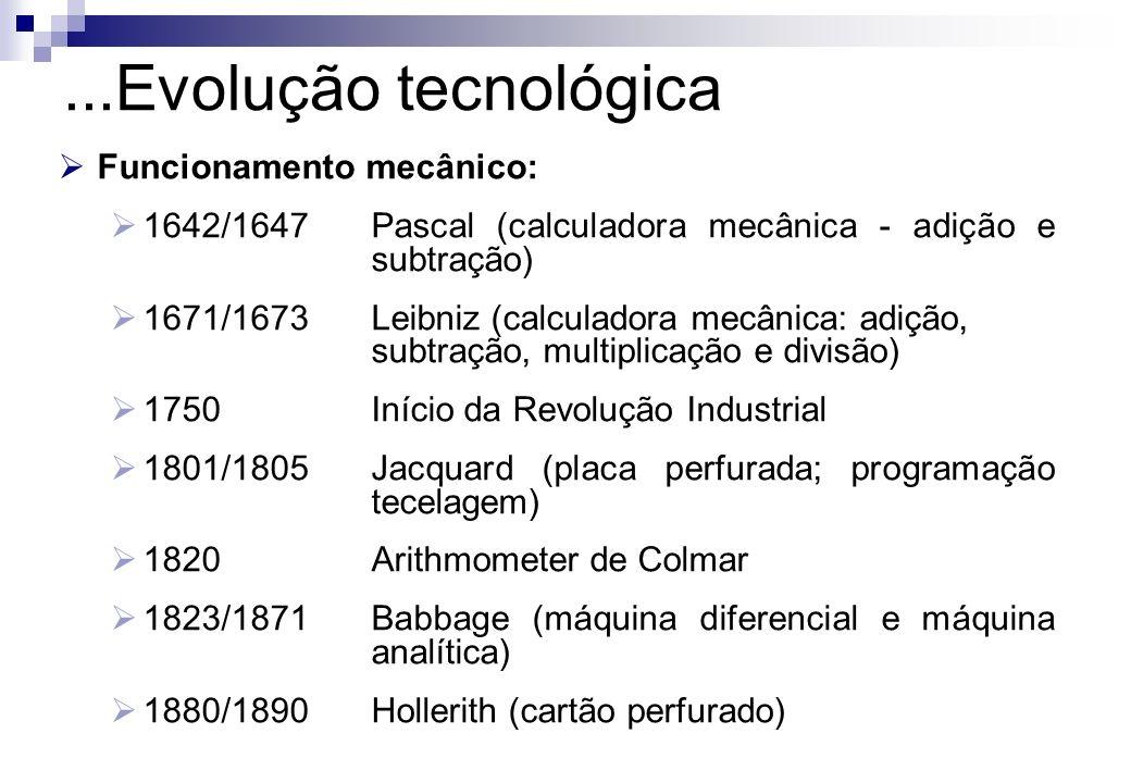 Funcionamento eletrônico: 1ª Geração de computadores (Válvulas) 1937/1939ABC (protótipo de computador eletrônico digital) 1937/1944Mark I (computador eletromecânico - Harvard / IBM) 1940/1941Z3 (computador eletrônico digital - Alemanha) 1943/1946ENIAC (primeiro grande computador eletrônico) 1945/1950Von Neumann (arquitetura lógica e conceitos binários) 1951Univac I (primeiro computador produzido comercialmente)...Evolução tecnológica