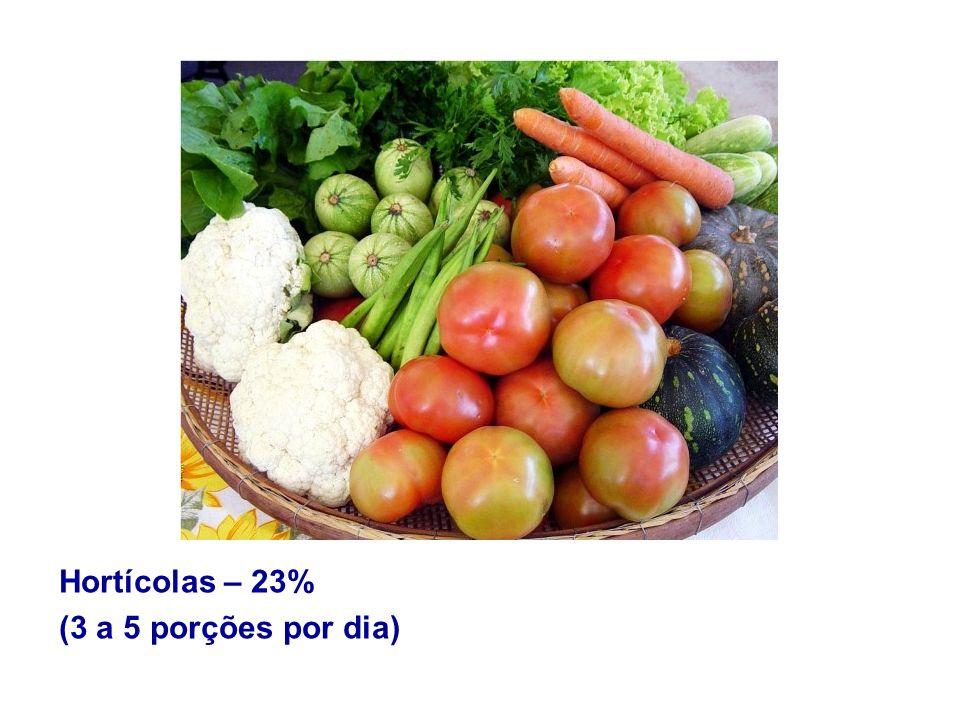 Hortícolas – 23% (3 a 5 porções por dia)