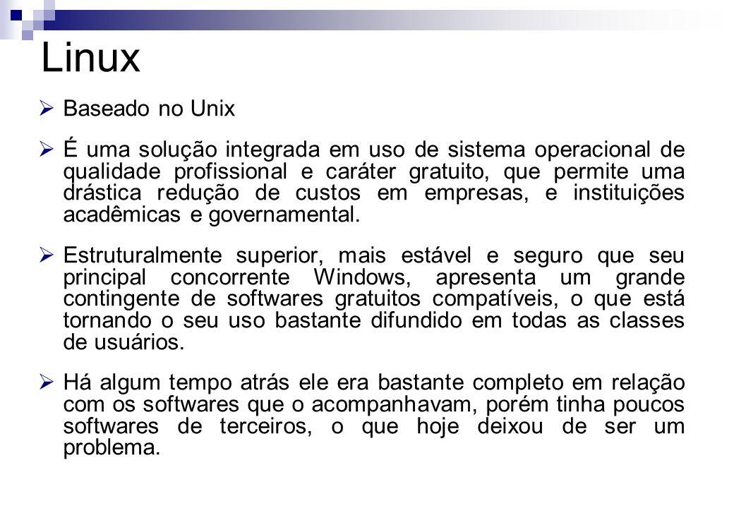 Baseado no Unix É uma solução integrada em uso de sistema operacional de qualidade profissional e caráter gratuito, que permite uma drástica redução d