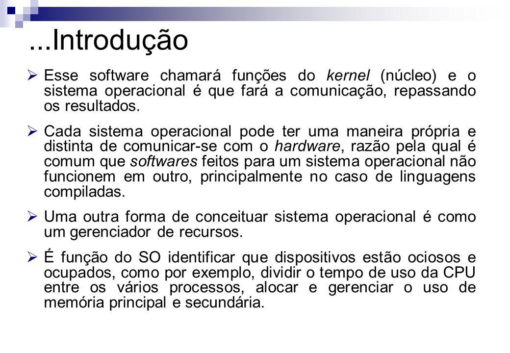 Esse software chamará funções do kernel (núcleo) e o sistema operacional é que fará a comunicação, repassando os resultados. Cada sistema operacional