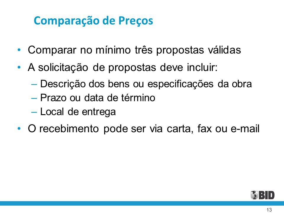 13 Comparação de Preços Comparar no mínimo três propostas válidas A solicitação de propostas deve incluir: – Descrição dos bens ou especificações da o