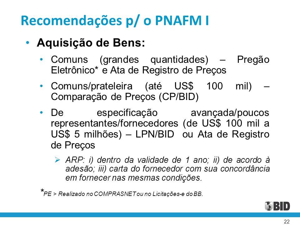 22 Recomendações p/ o PNAFM I Aquisição de Bens: Comuns (grandes quantidades) – Pregão Eletrônico* e Ata de Registro de Preços Comuns/prateleira (até