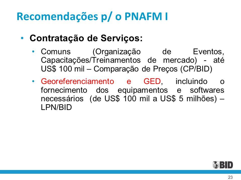 23 Recomendações p/ o PNAFM I Contratação de Serviços: Comuns (Organização de Eventos, Capacitações/Treinamentos de mercado) - até US$ 100 mil – Compa