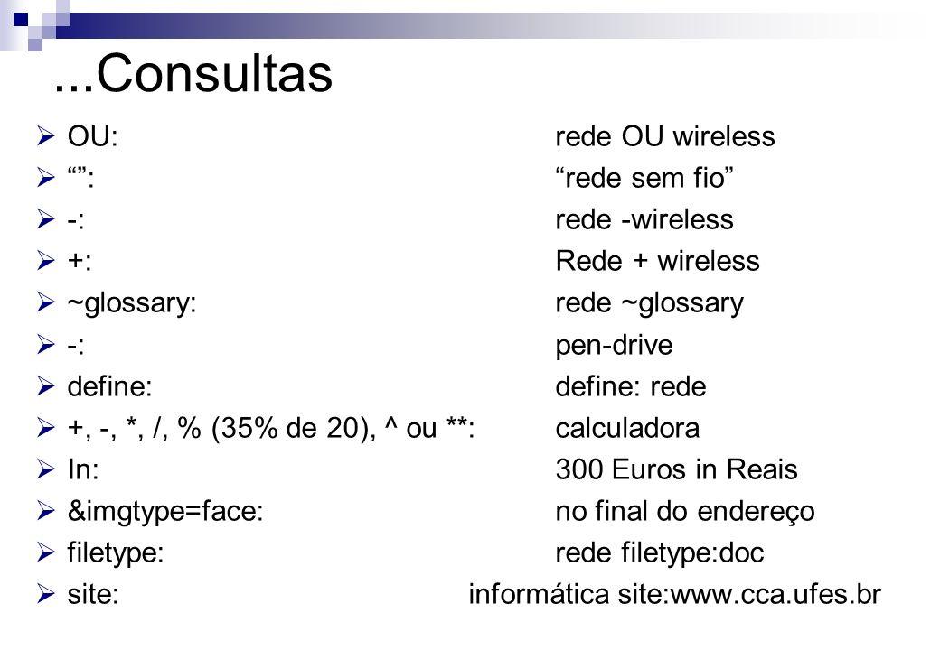 OU: rede OU wireless : rede sem fio -: rede -wireless +: Rede + wireless ~glossary:rede ~glossary -:pen-drive define: define: rede +, -, *, /, % (35%