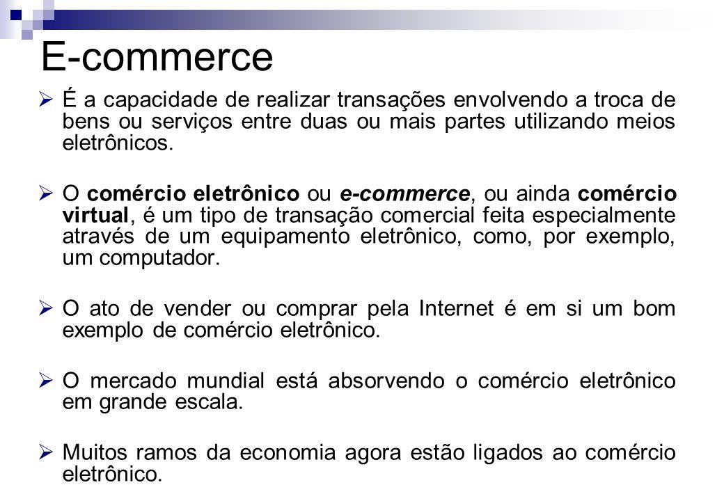 É a capacidade de realizar transações envolvendo a troca de bens ou serviços entre duas ou mais partes utilizando meios eletrônicos. O comércio eletrô