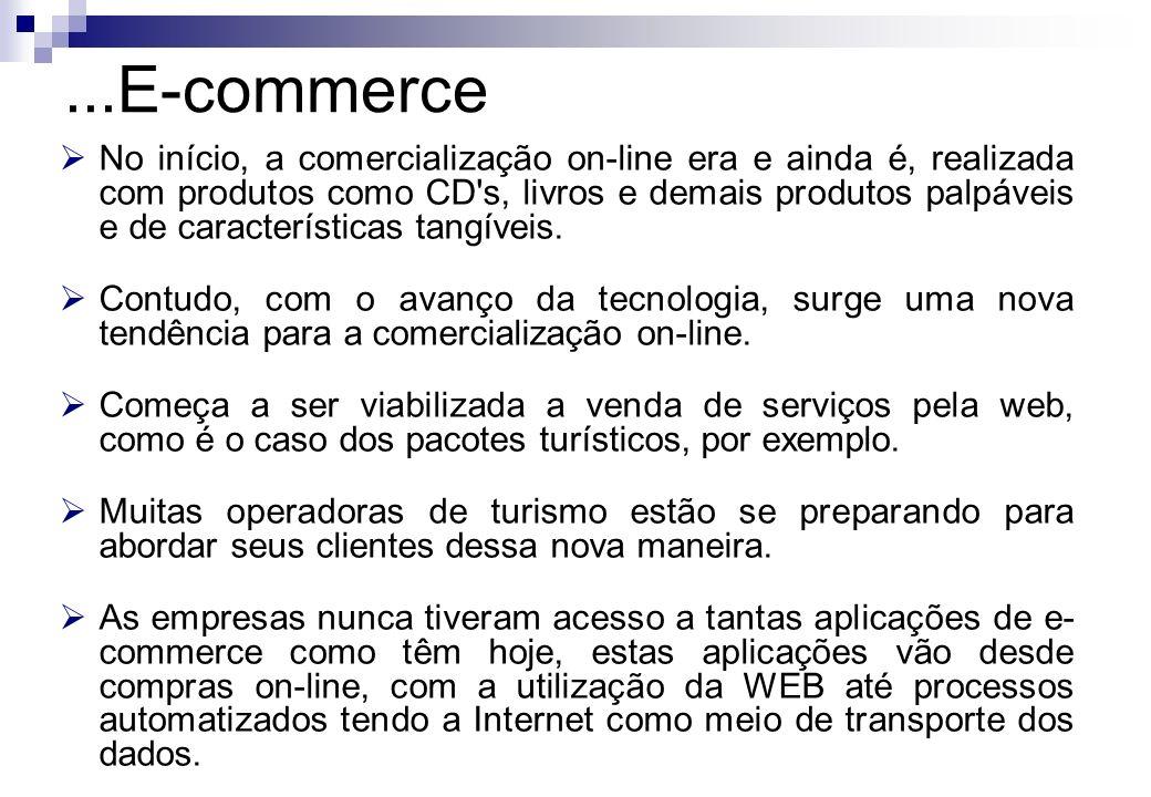 No início, a comercialização on-line era e ainda é, realizada com produtos como CD's, livros e demais produtos palpáveis e de características tangívei