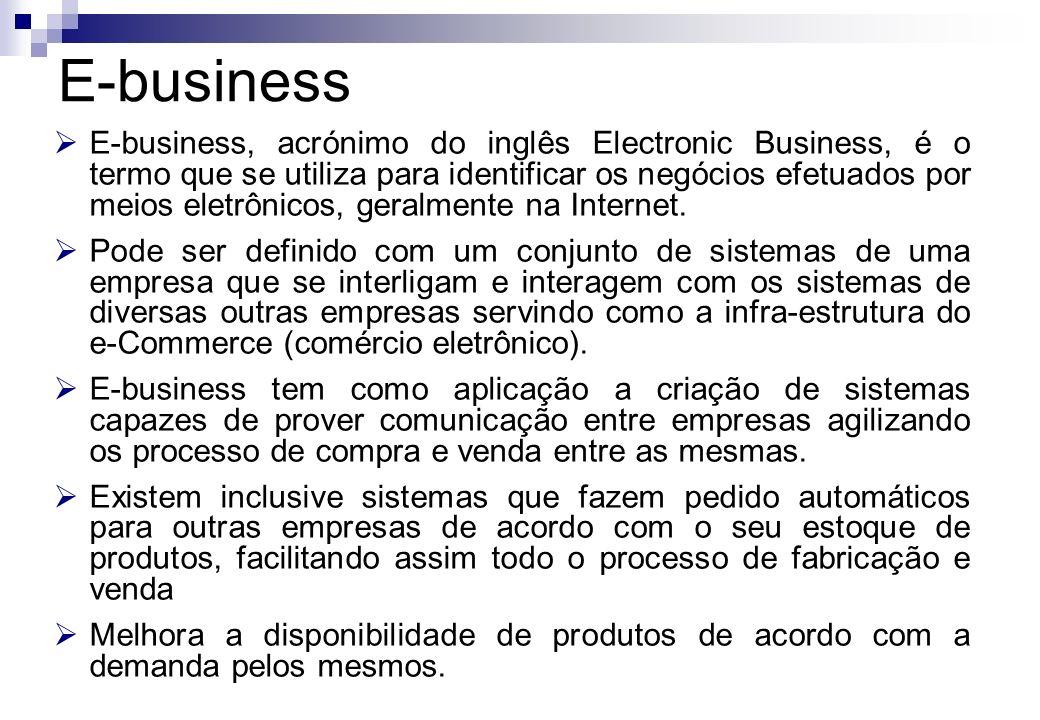 E-business, acrónimo do inglês Electronic Business, é o termo que se utiliza para identificar os negócios efetuados por meios eletrônicos, geralmente