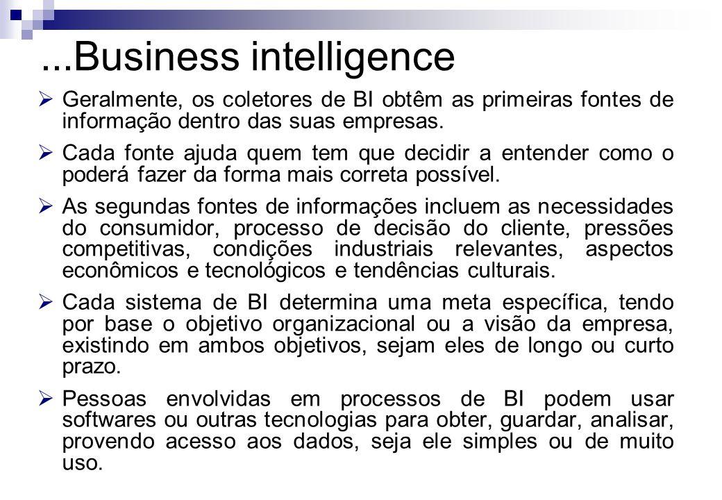 Geralmente, os coletores de BI obtêm as primeiras fontes de informação dentro das suas empresas. Cada fonte ajuda quem tem que decidir a entender como