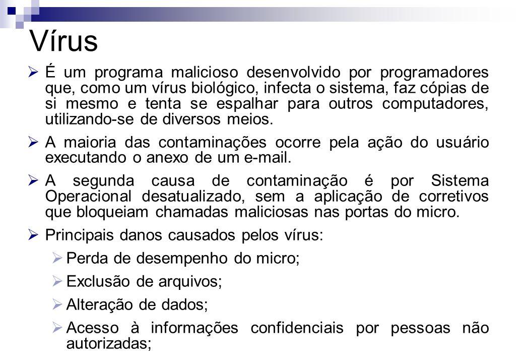 É um programa malicioso desenvolvido por programadores que, como um vírus biológico, infecta o sistema, faz cópias de si mesmo e tenta se espalhar par