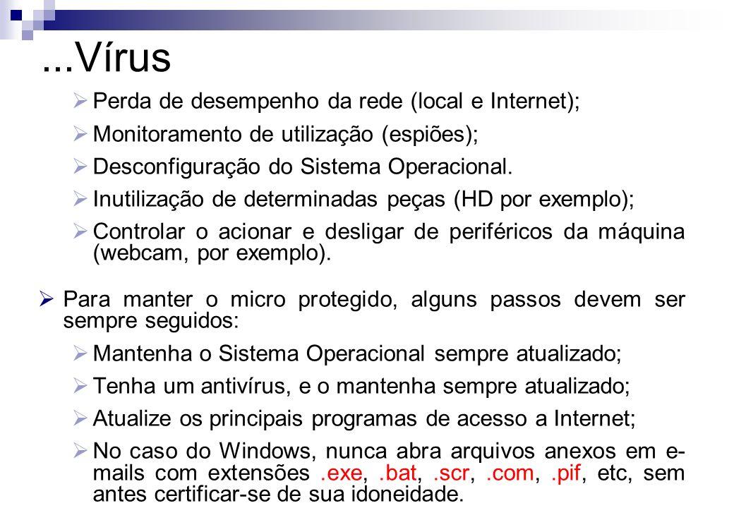 Perda de desempenho da rede (local e Internet); Monitoramento de utilização (espiões); Desconfiguração do Sistema Operacional. Inutilização de determi