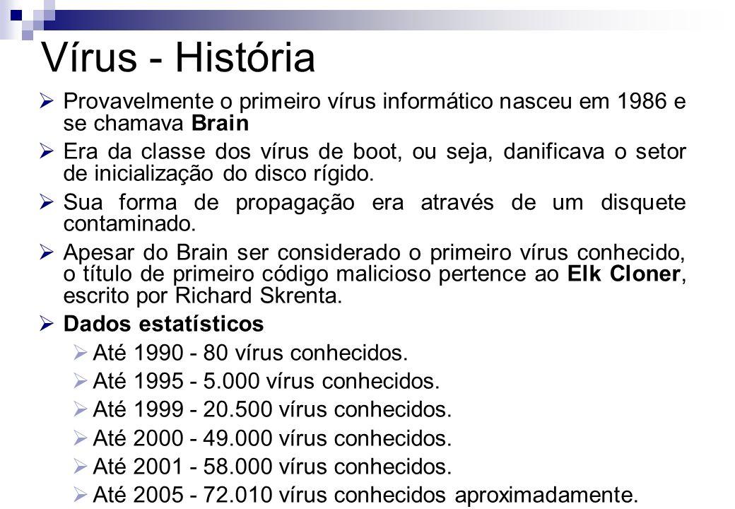 Provavelmente o primeiro vírus informático nasceu em 1986 e se chamava Brain Era da classe dos vírus de boot, ou seja, danificava o setor de inicializ