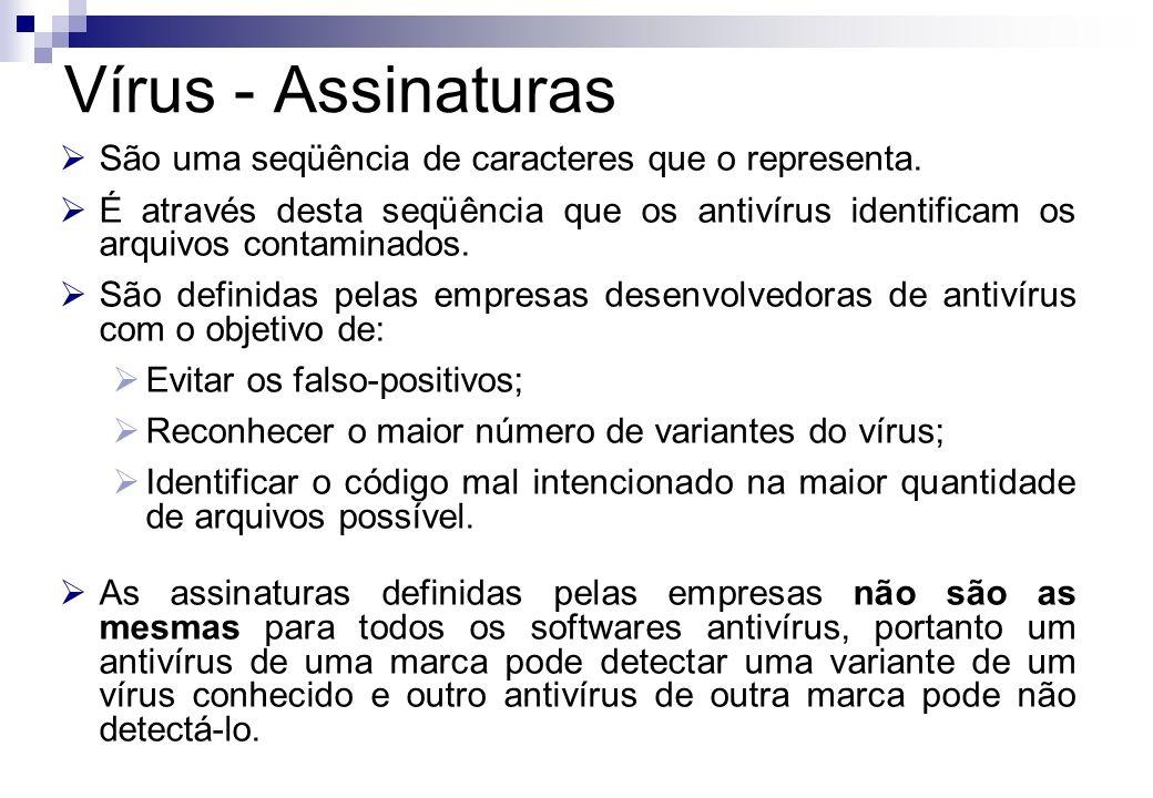 São uma seqüência de caracteres que o representa. É através desta seqüência que os antivírus identificam os arquivos contaminados. São definidas pelas